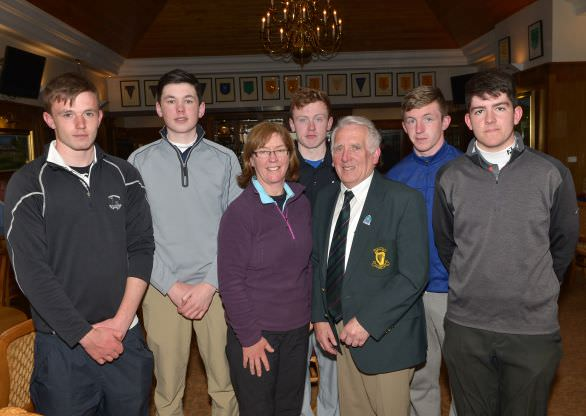 John Ferriter pictured with Stella Kehoe from beaten finalists Gorey Community School. Also in the picture (from left) John Bolger, Alex Reid, Adam Spencer, James Redmond and Cillian Hughes. Picture by Pat Cashman