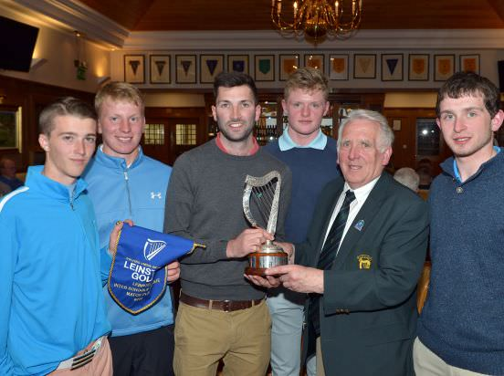 John Ferriter (Chairman, Leinster Golf, GUI) presenting the 2015 Leinster Inter Schools Matchplay trophy to Ger Fleming (Teacher, Presentation College, Bray) after their victory at Dun Laoghaire Golf Club (27/04/2015). Also in the picture (from left) Jack Nolan, Alan Fahy, Michael Corry and Killian Ivory. Picture by  Pat Cashman