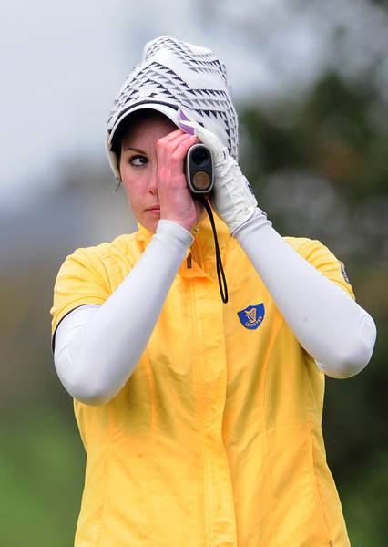 LEINSTER'S MARIA DUNNE CHECKING DISTANCE FROM THE 10TH TEE DURING THE FINAL DAY OF THE WOMEN'S INTERPROVINCIAL MATCHES AT TRAMORE. 17TH APRIL 2014. PICTURE BY PAT CASHMAN