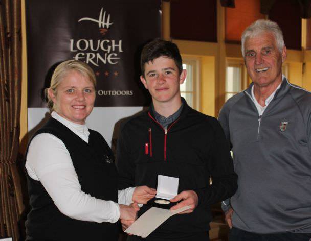 Paddy Culhane receives the Under 16 prize following his playoff win at Lough Erne