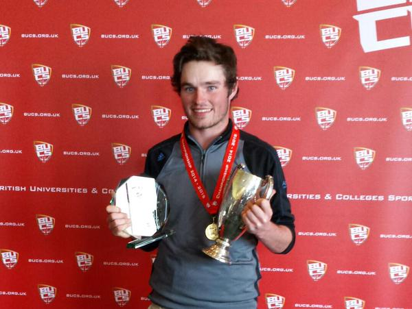 Cormac Sharvin with the British Universities' Championship trophy last week.
