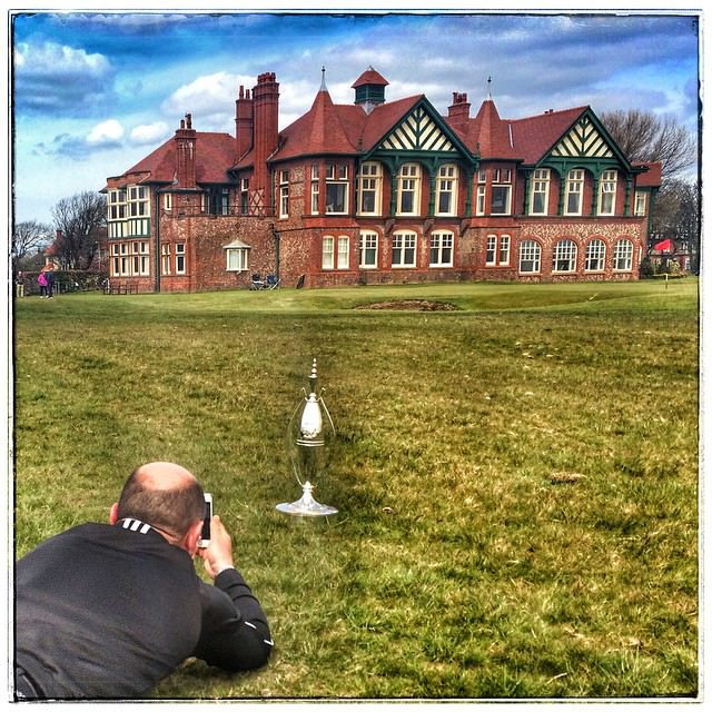 Great Britain and Ireland Walker Cup captain Nigel Edwards gets a shot of the Sputnik Trophy on Friday. Picture via Instagram/ TheOneEyedCrow