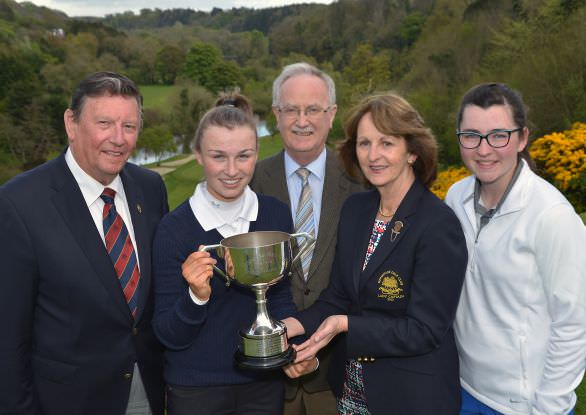 Carolyn Hillery (Lady Captain,) presenting the Dermot Kelly Ltd (Ford Dealers) sponsored 2015 Hermitage Scratch Cup to Julie McCarthy (Forrest Little). Also pictured, Pat McGilloway (Captain), James Kelly (MD, Dermot Kelly Ltd) and runner up Ciara Casey (Hermitage). Picture by  Pat Cashman