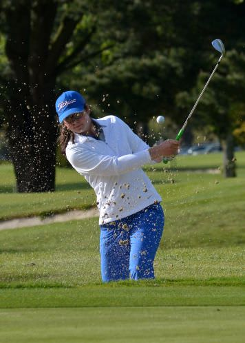Runner up Ciara Casey (Hermitage) playing from the bunker at the 7th.  Picture by   Pat Cashman
