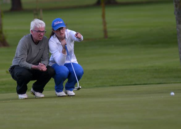 Ciara Casey lining up her putt on the 9th green with her father Donal in the Dermot Kelly Ltd (Ford Dealers) sponsored 2015 Hermitage Scratch Cup at Hermitage Golf Club. (05/2015).  Picture by  Pat Cashman