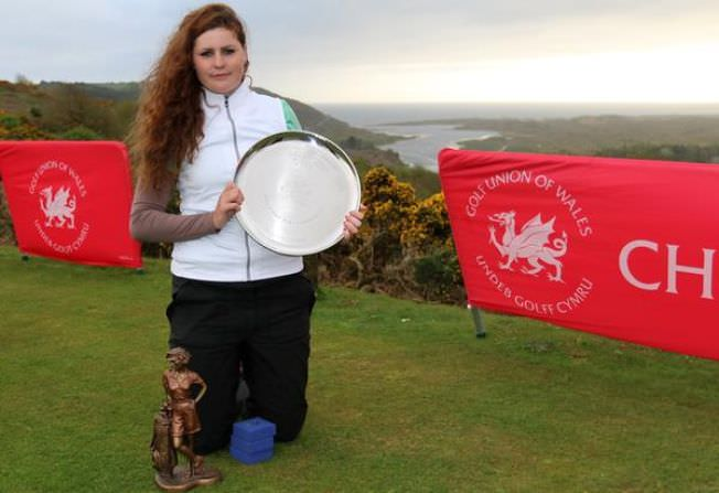 Royal County Down's Olivia Mehaffey with the Welsh Ladies Open Strokeplay Championship trophy - her third win in a row. Picture