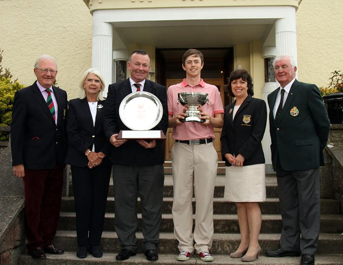 Munster Strokeplay champion Shaun Carter (The Royal Dublin) pictured at Cork Golf Club with Robin Turnbull, President, Lady President Ann Kos, Captain Fergal Deasy, Lady Captain Katherine O'Kelly Lynch and Liam Harkin, GUI Munster Branch. Picture: Niall O'Shea/ Cork Golf News