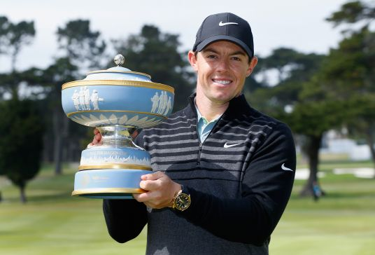 Rory McIlroy with his second WGC trophy. Picture © Getty Images