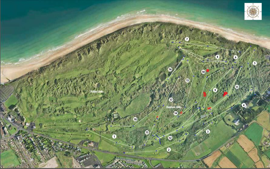 An overview of the new layout for the Dunluce Links at Royal Portrush.  Click to expand