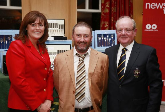 Lady Captain Liz Brady, Captain David Coyle and the winner of The K Club Newstalk Irish PGA Pro Am in Association with Newbridge Silverware, Damien McGrane (centre) who shot a 66 on the Palmer Ryder Cup Course at The K Club.