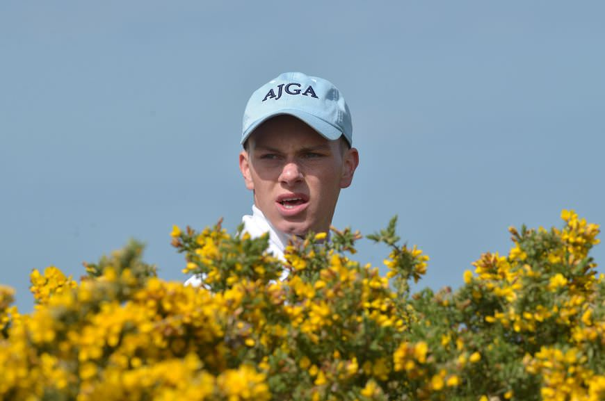 Rowan Lester (Hermitage) playing the 11th hole during the first round of the 2015 Irish Amateur Open Championship at The Royal Dublin Golf Club. Picture by Pat Cashman