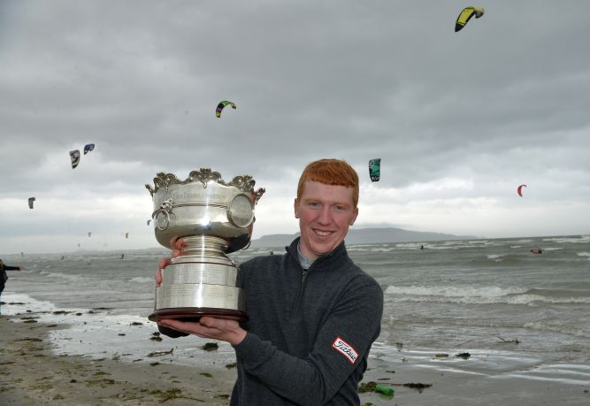 Flying high on Bull Island.........Winner Gavin Moynihan (The Island) after his victory in the 2015 Irish Amateur Open Championship at The Royal Dublin Golf Club today (10/05/2015). Picture by Pat Cashman