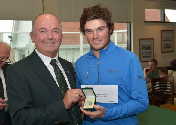 Michael Connaughton (President, Golfing Union of Ireland) presenting Cormac Sharvin (Ardglass) with his runner up medal at the Irish Amateur Open Championship at The Royal Dublin Golf Club today (10/05/2015). Picture by  Pat Cashman