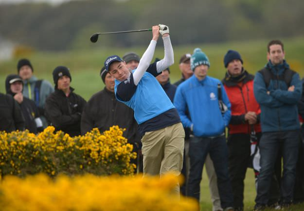 Kevin LeBlanc (The Island) playing his second shot to the 18th green in final round of the 2015 Irish Amateur Open Championship. Picture by Pat Cashman