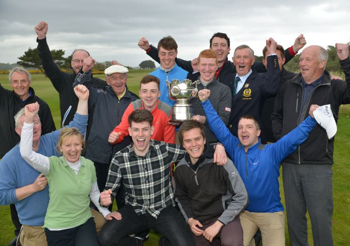 Winner Gavin Moynihan (The Island) with Kevin LeBlanc and members of The Island after his victory in the 2015 Irish Amateur Open Championship at The Royal Dublin Golf Club. Picture by Pat Cashman