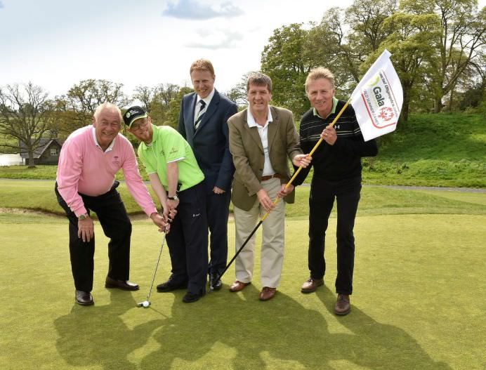 Pictured at the unveiling of Team Ireland's golfing squad at Carton House are Christy O'Connor Jr, Gary Desmond, CEO of Gala, Matt English, CEO of Special Olympics Ireland, Senator Eamonn Coghlan and Paul Kirrane, Ennis, Co Clare who is one of the Special Olympics golfers who will represent Ireland at the World Games. Picture credit: Ray McManus / SPORTSFILE