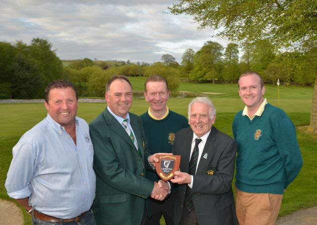 John Ferriter (Chairman, Leinster Golf, GUI) presenting Michael Carthy (Captain, Mount Wolseley Golf Club) with the 2015 Leinster Captain's & Club Officials Team Trophy after their victory at Mount Wolseley Golf Club (12/05/2015). Also in the picture are team members Barney O'Toole, Shem Lawlor and Padraig Murphy. Picture by  Pat Cashman