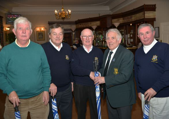 John Ferriter presenting Brendan Featherston (Captain, Donabate Golf Club) with fourth prize at the 2015 Leinster Captains & Club Officials Team event at Mount Wolseley Golf Club. Also in the picture are team members Niall Kenny, Brian May and Paul Keogh. Picture by Pat Cashman