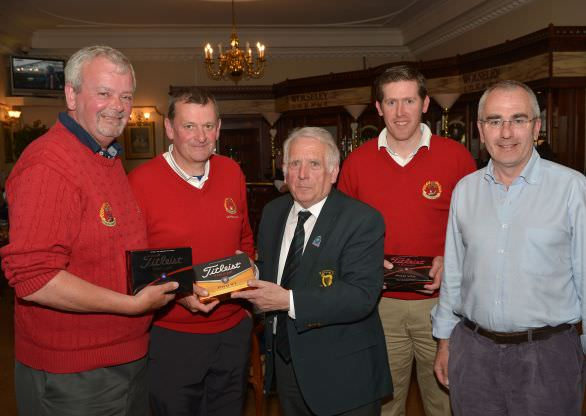 John Ferriter presenting Barry Robinson (Captain, Stackstown Golf Club) with the runners up prize. Also in the picture are team members Frank Dunleavy, Paddy Murphy and Ciaran O'Rourke. Picture by Pat Cashman
