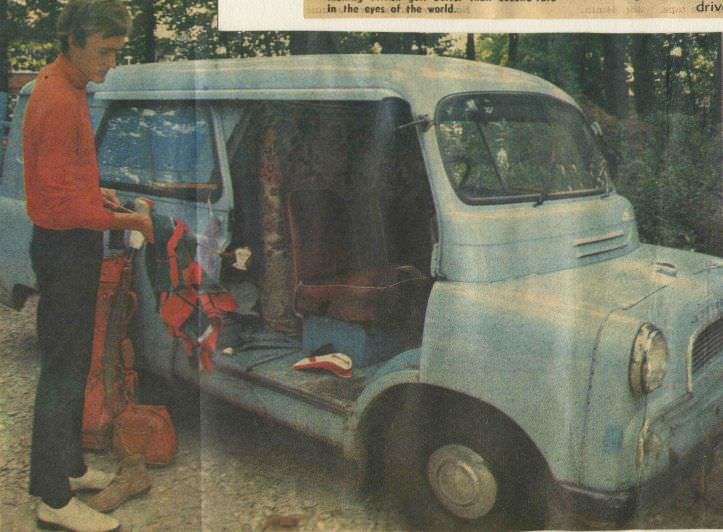 This is what being a touring professional golfer entailed for the young David Jones — a builder's van. a set of clubs and a dream