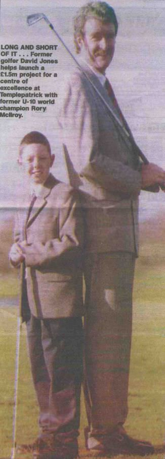 Little man, big man. David Jones with a very young Rory McIlroy.