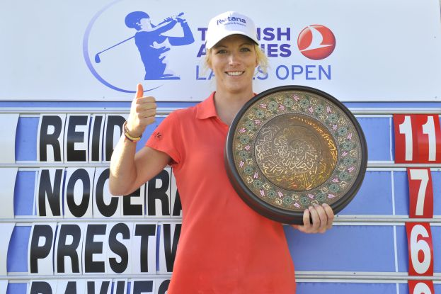 Melissa Reid of England with the Turkish Airlines Ladies Open trophy. Picture courtesy Turkish Airlines