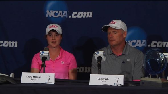 Leona Maguire and Dan Brooks talk to the press