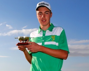 Kevin LeBlanc with the Junior Open trophy