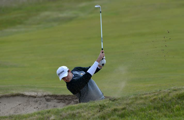 Alan Lowry (Esker Hills) playing his second shot to the 9th green in the CityNorth Hotel sponsored East of Ireland Championship at County Louth Golf Club (01/06/2015). Picture by  Pat Cashman