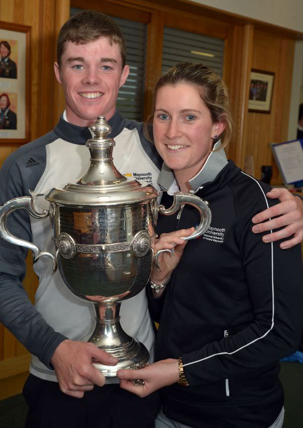 Winner Stuart Grehan (Tullamore) with his girlfriend Carla Reynolds after his victory in the City North Hotel sponsored East of Ireland Championship at County Louth Golf Club. Picture by  Pat Cashman