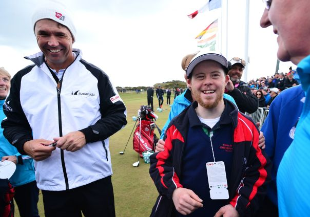 Padraig Harrington gets to meet Paul Kirrane from Ennis, Co. Clare as he prepares to represent Team Ireland in  LA2015, Photo Mark Runnacles/Getty Images