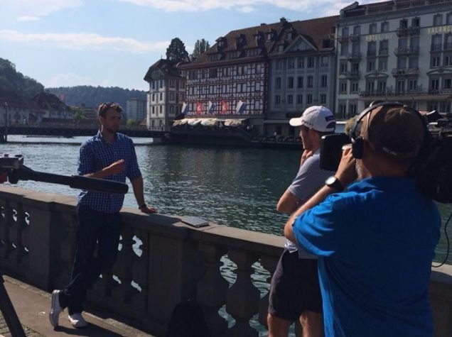 Ruaidhri McGee does some filming in Lucerne
