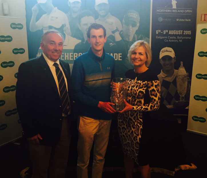 Tiarnan McLarnon (Massereene GC), winner off the 2015 North of Ireland Amateur Strokeplay  with Valerie Penney (Specsavers Ballymena) and Galgorm Castle Golf Club Captain Keith Dinsmore.