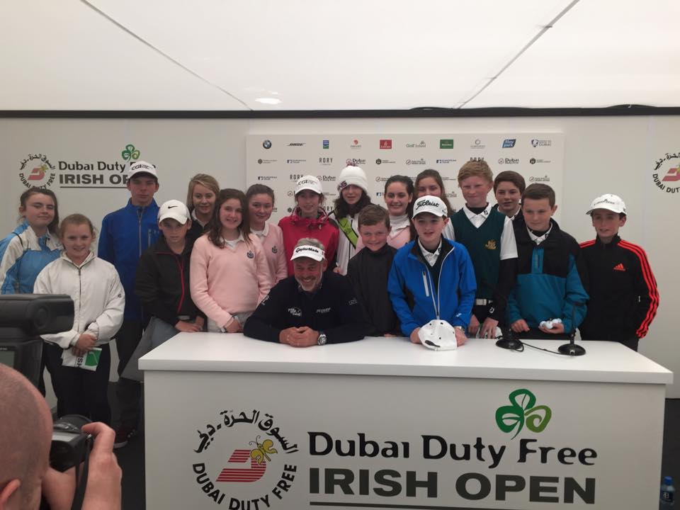 Darren Clarke at Royal County Down with the winners of the Irish Open Skills Challenge