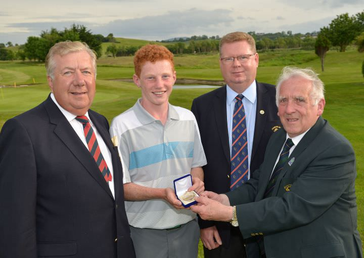 John Ferriter (Chairman, Leinster Golf) presenting John Murphy (Kinsale) with the under 18 category medal at the 2015 Leinster Youths Amateur Open Championship at Charlesland Golf Club. Also in the picture are Brendan O'Brien (President, Charlesland Golf Club) and Tony Fitzpatrick (Captain, Charlesland Golf Club). Picture by  Pat Cashman