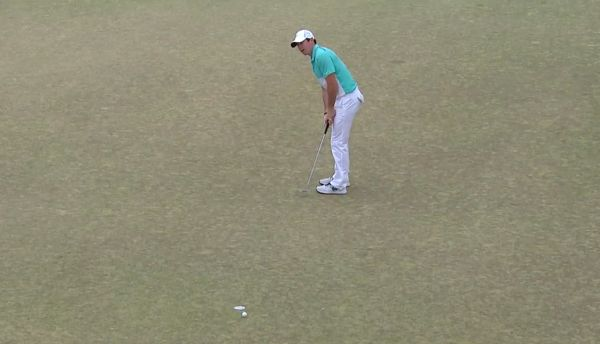 Rory McIlroy laments another missed putt. This one was for birdie at the eighth, his 17th.