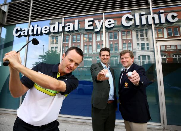 European Tour starMichael Hoey joins Andrew Spence from Cathedral Eye Clinic and Kevin Stevens from of the Golfing Union of Ireland (Ulster Branch) to launch the Cathedral Eye Clinic 2015 North of Ireland Amateur Open Championship.