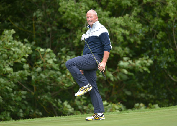 Alan Condren (Greystones) reacts to his missed putt on the 17th during the final day of the 2015 Irish Mid Amateur Open Championship at New Forest Golf Club. Picture by Pat Cashman