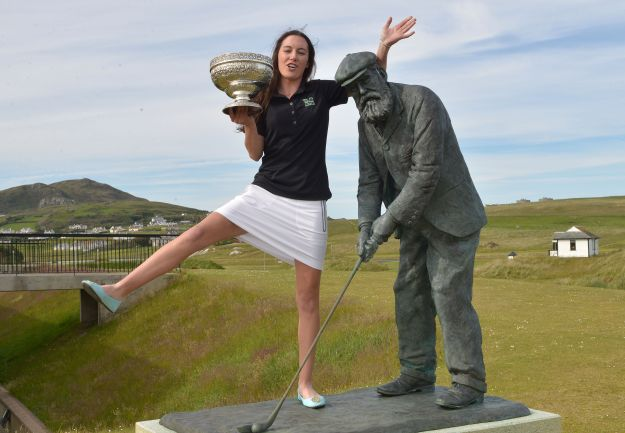 Sarah Helly celebrates her Irish Women's Amateur Close Championship win over the Old Tom Morris Links at Rosapenna. Picture:  Pat Cashman