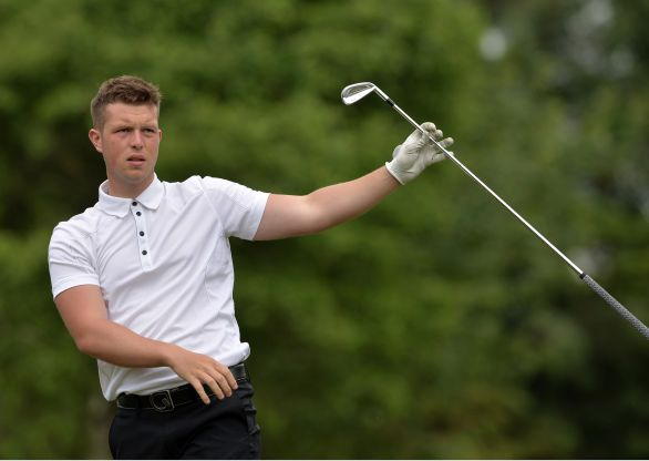 Thomas Murray (England) driving from the 9th tee during the second round of the 2015 Irish Boys Amateur Open Championship at Tuam Golf Club. (24/06/2015). Picture by Pat Cashman