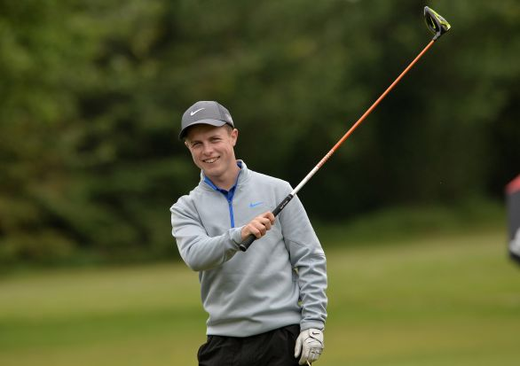 Conor Purcell (Portmarnock) about to tee off from the 9th tee during the second round of the 2015 Irish Boys Amateur Open Championship. Picture by  Pat Cashman