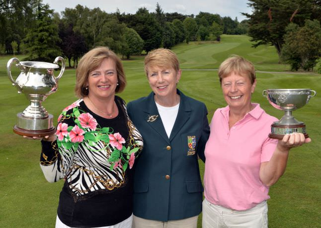 Valerie Hassett (President, Irish Ladies Golf Union) pictured with (left) Gertie McMullen (The Island) winner of the Irish Senior Women's Close Championship and Catherine Bird (Nenagh) winner of the Plate Final at the 2015 Irish Senior Women's Close Championship at Castletroy Golf Club (03/07/2015) Picture by  Pat Cashman