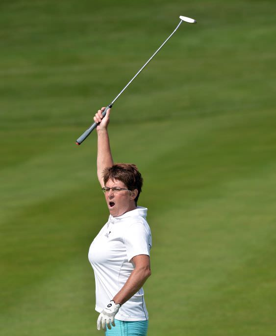 Ann Monteith (Slieve Russell) reacts to a missed putt on the 14th green in the semi final of the 2015 Irish Senior Women's Close Championship (Plate) at Castletroy Golf Club today (03/07/2015) Picture by Pat Cashman