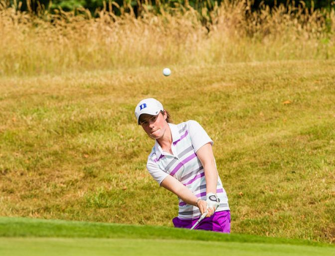 Leona Maguire splashes out of a bunker in the second round of the ISPS HANDA Ladies European Masters at Buckinghamshire. Picture: Ladies European Tour
