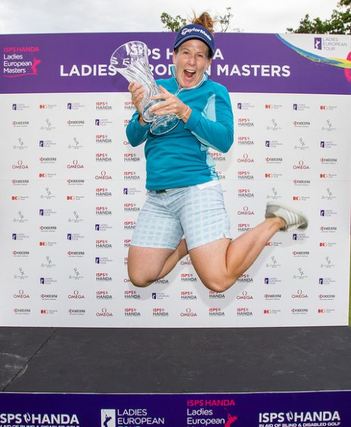 Winner Beth Allen celebrates. Picture: Ladies European Tour.