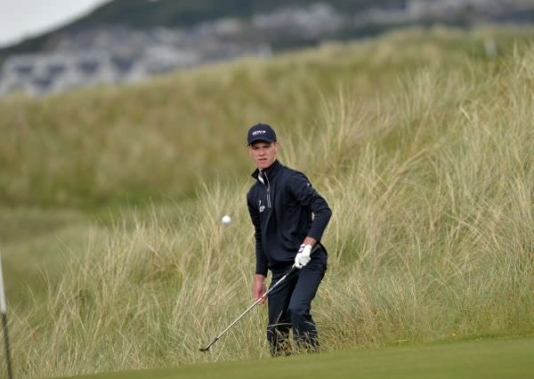 Rowan Lester (Leinster) coming from the rough at the 14th during the first day of the 2015 Interprovincial Championship at Rosapenna Golf Club.Picture byPat Cashman