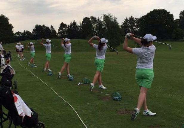 The Irish women's team, minus Leona Maguire, warms up last Sunday.