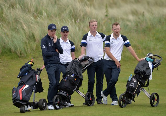 Leinster players Kevin Le Blanc, Rowan Lester, Thomas Mulligan and Paul McBride watching other matches finish during the second day of the 2015 Interprovincial Championship at Rosapenna Golf Club today (07/07/2015). Picture by Pat Cashman