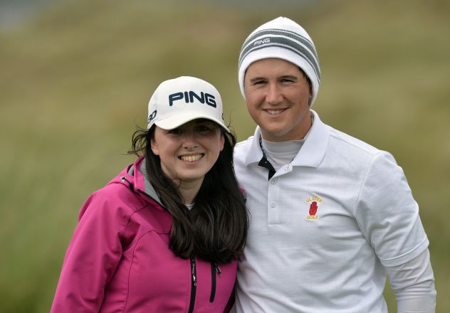 olm Campbell (Ulster) pictured with his fiancee Ciara McSherry after beating Pat Murray (Munster) 5 and 4 during the second day of the 2015 Interprovincial Championship at Rosapenna Golf Club today (07/07/2015). Picture by  Pat Cashman