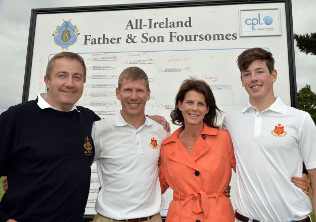 Paul and Louis O'Reilly (Elm Park) runners up in the 2015 CPL Resources sponsored Father & Son competition. Also in the picture are Conor Lennon (Captain, Elm Park) and Oonagh O'Reilly. Picture by  Pat Cashman